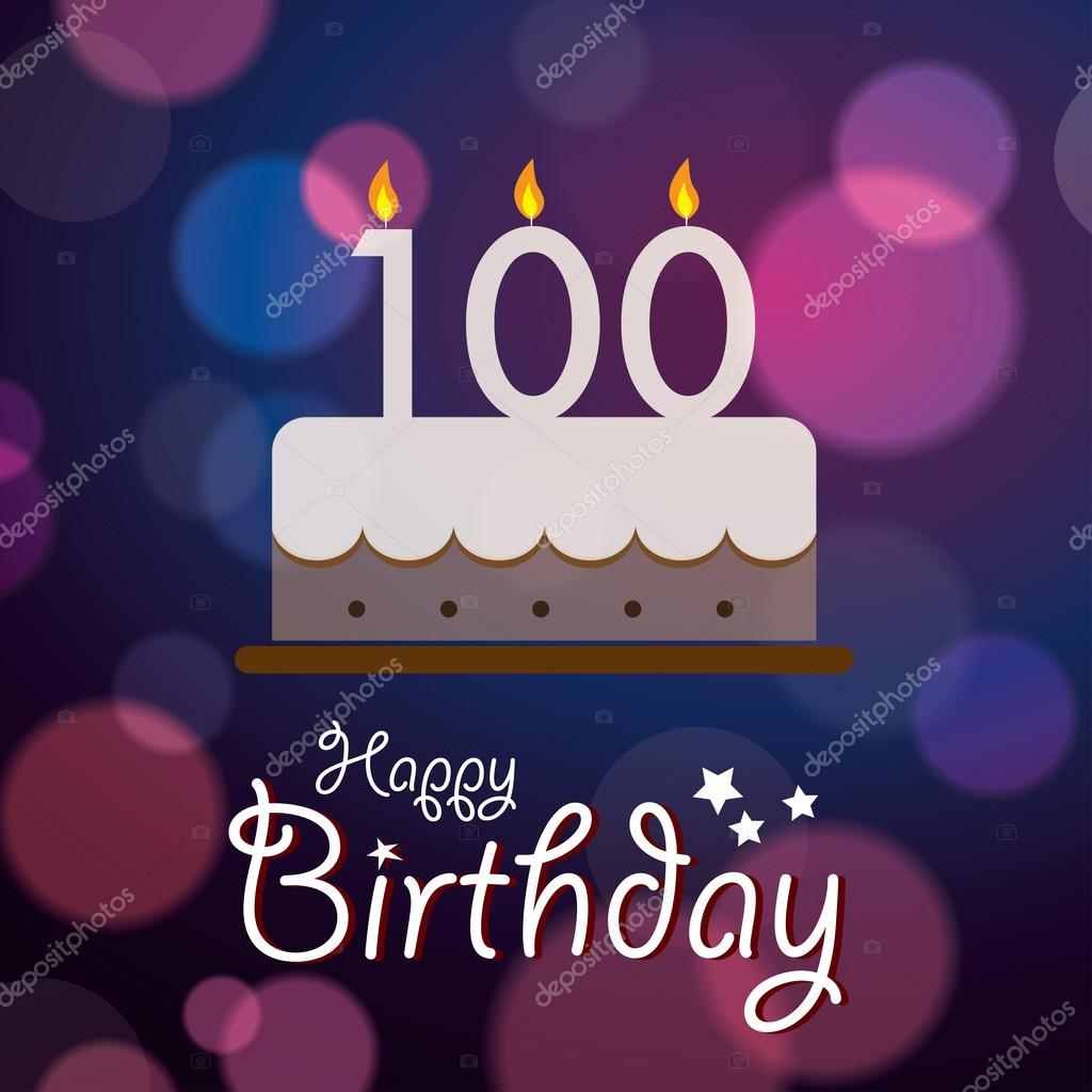 happy 100th birthday bokeh vector background with cake vector image by c harshmunjal vector stock 51193501
