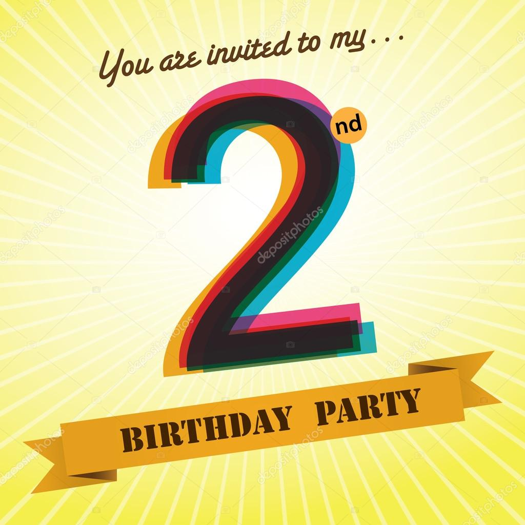 2nd birthday party invite template design in retro style vector background vector image by c harshmunjal vector stock 51512563