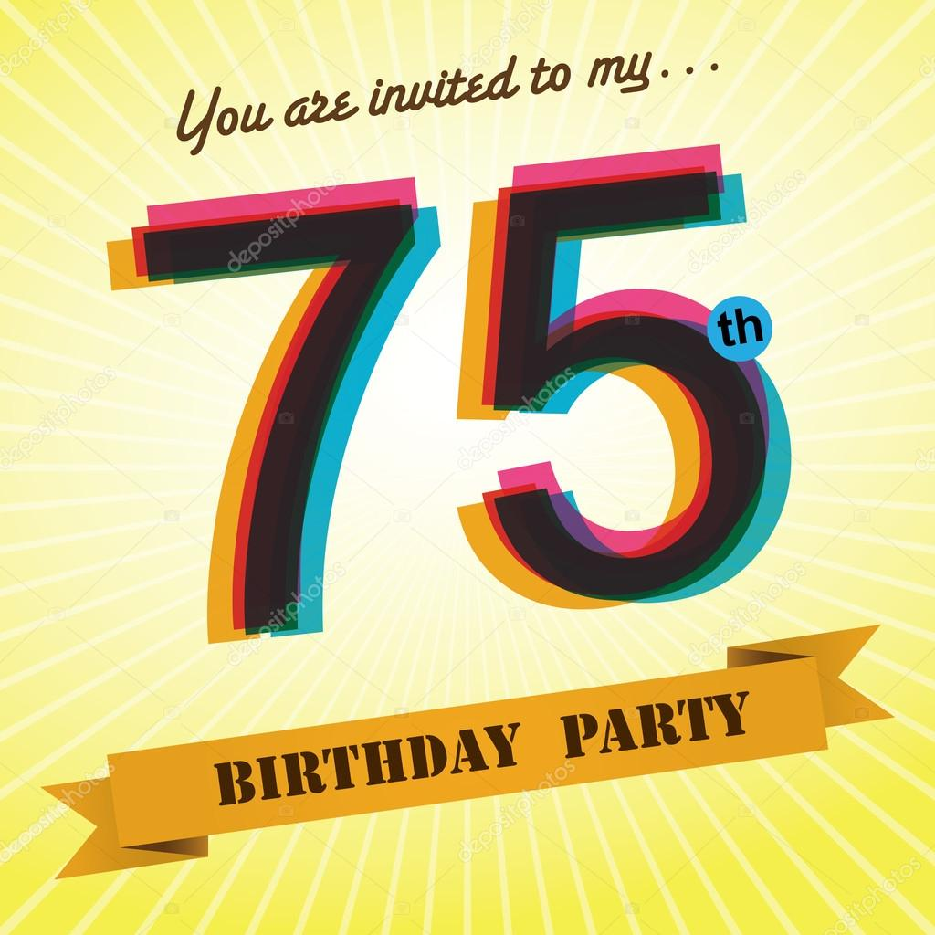 75th birthday party invite template design in retro style vector background vector image by c harshmunjal vector stock 51522867