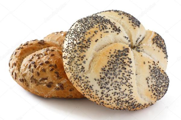 White poppy seed Kaiser bread roll Stock Photo