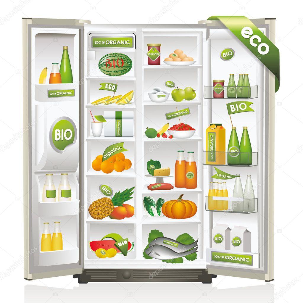 Refrigerator Full Of Organic Foods