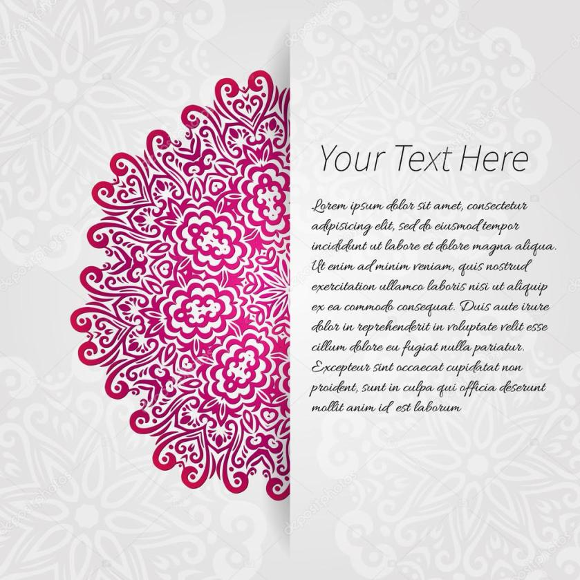 Lacy Vector Wedding Card Template Abstract Circle Fl Ornament Good For Birthday Or Baby