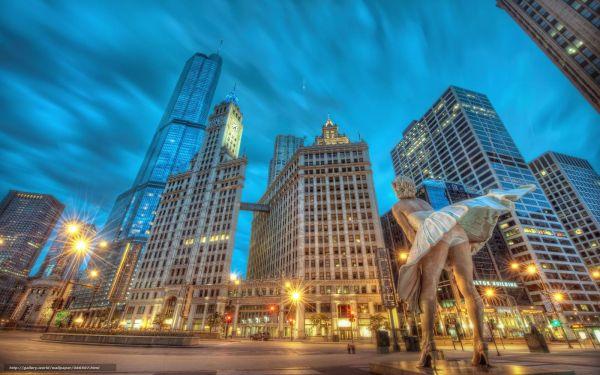 Скачать обои статуя здания Чикаго бесплатно для рабочего