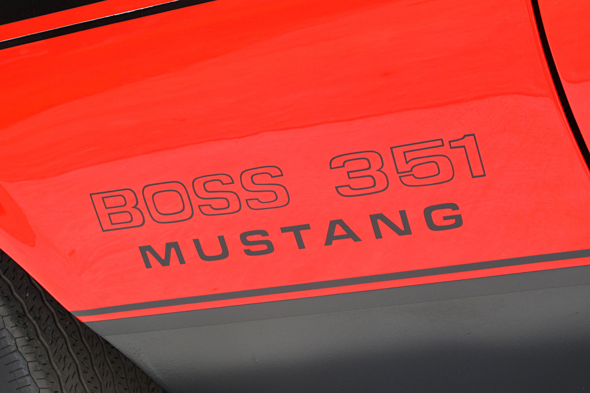 17 1971 ford mustang boss 351 red fender decal