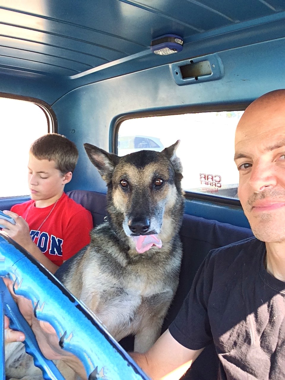 """Truck Norris, my 1967 C10 didn't let us down, and my dog was happy to see me again after being gone for so long. Danny promptly nicknamed the C10 """"The Truck of Death."""""""