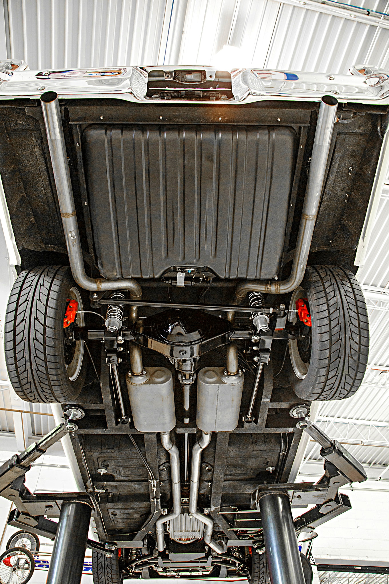 A Flowmaster kit was used to complete the exhaust system. Note how the pipes and mufflers tuck up inside the frame.