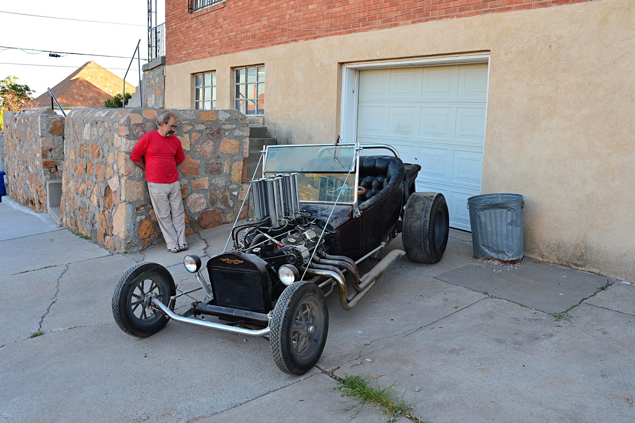 "Gary Hawkins and his '23 T-bucket. ""Some guy who called himself Kenny"" painted and striped the hot rod when he passed through El Paso in 1969."