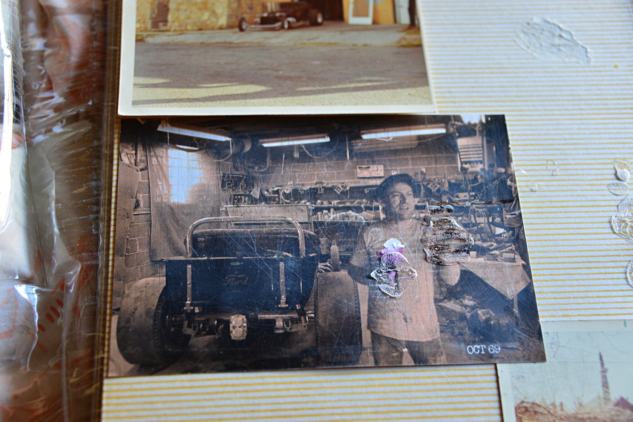 We found this damaged photo of Von Dutch in an album in Gary's garage apartment. The date on the print is October 1969, probably the processing time, not the actual date the photo was taken, which would have been in the summer of 1969.