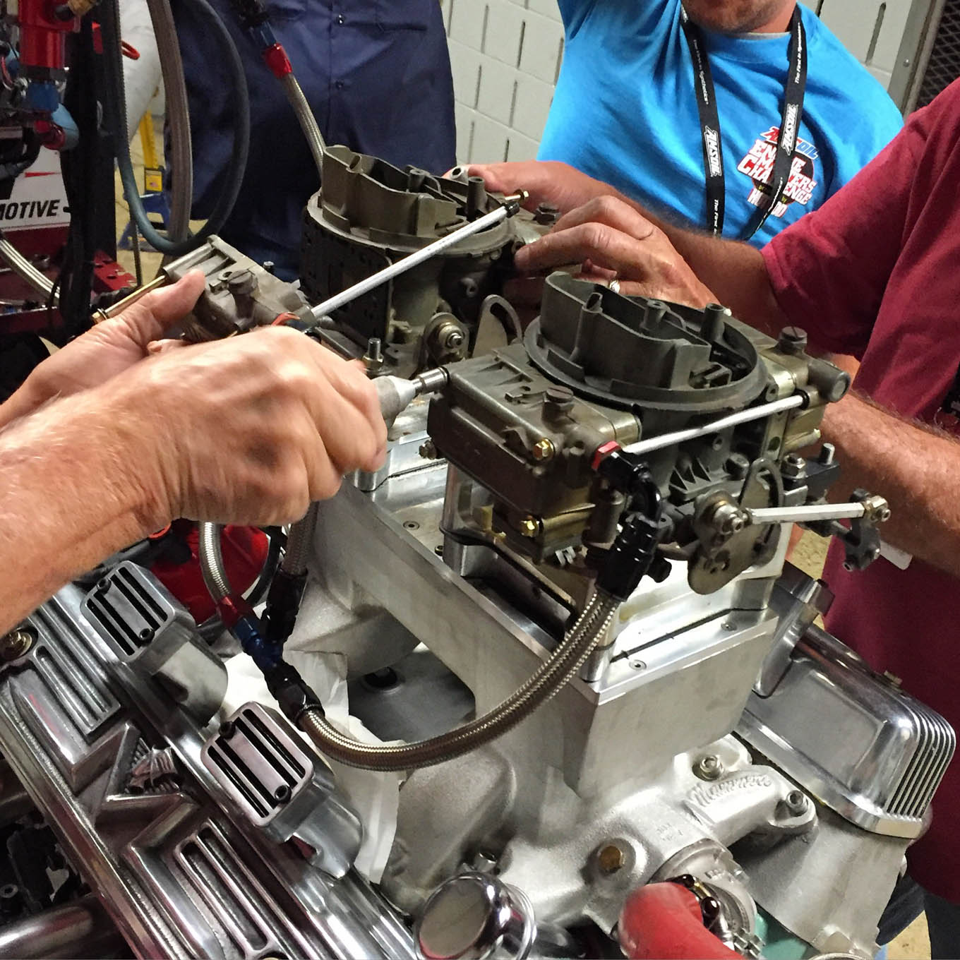 Dual 4-barrel carburetors are great at equalizing airflow to each cylinder, the only downside is that 4 bowls and 8 jets need to come out every time you need to make fueling change. Fortunately, crewmembers Fred Hertzog, Lonnie Putnam, Jody Orsag, and Steve Culp were adept at jet-swaps, accomplishing several in the 30-minute window of competition.