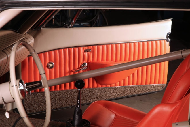 The interior remains largely stock and a testimony to Loewy's designers. Judicious pleats suggest they had their finger on the pulse of hot rod culture.