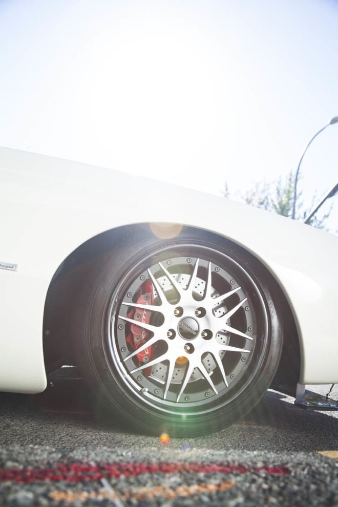 The front suspension's roots in the C6 Corvette mandated a highly positive-offset wheel, which means a modern look. These Forgeline DE3P wheels measure 19x10 and 20x12 and wear 275/35ZR19 and 315/35ZR20 Nitto NT05s.