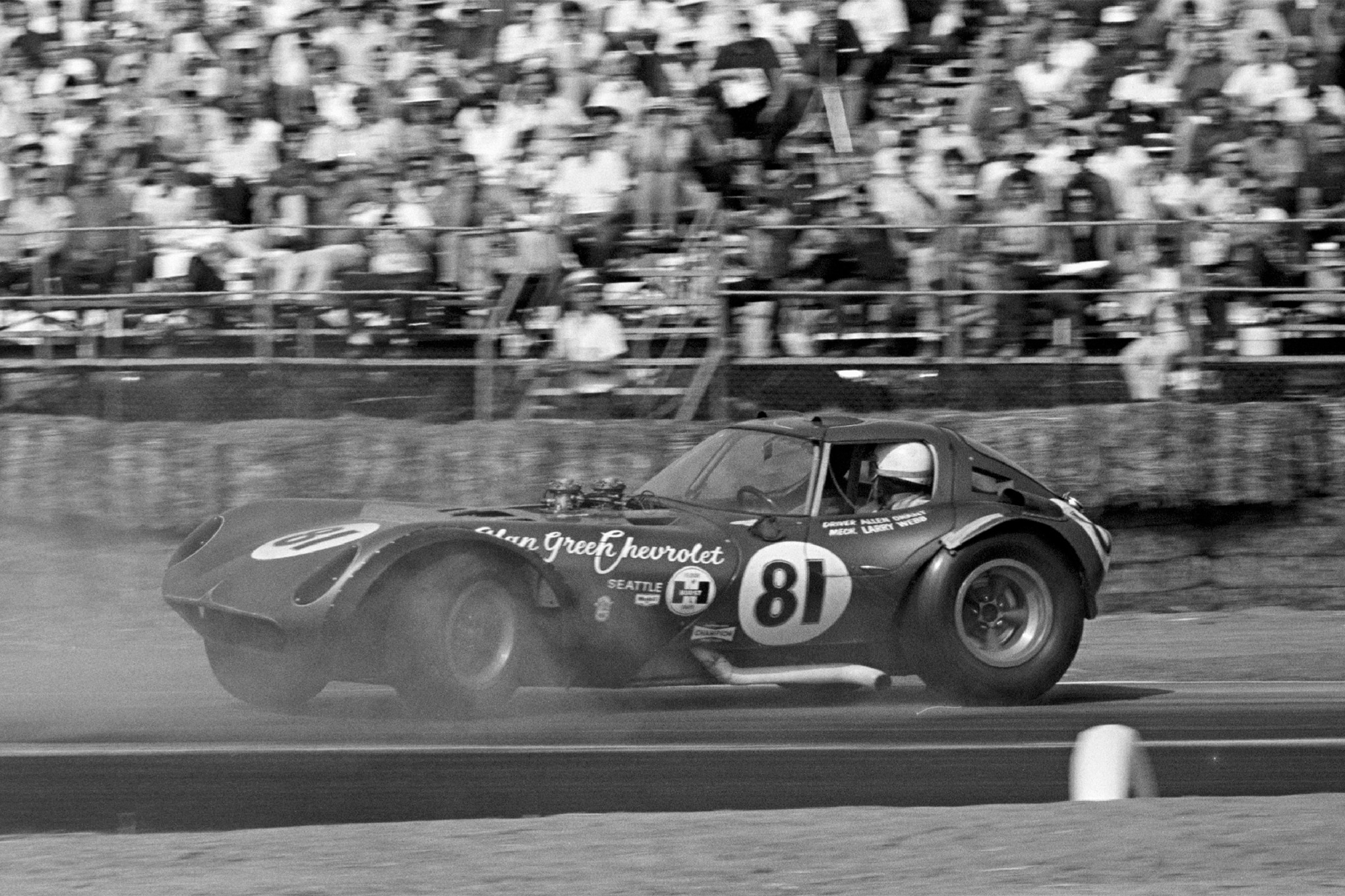 Shown are the same car and driver, at the same Riverside event, demonstrating the Cheetah's unnerving tendency to suddenly swap ends in turns. Allen Grant managed to keep Alan Green Chevrolet's entry intact and make it back to Riverside two weeks later for a nonpoints meet sponsored by Petersen's Sports Car Graphic magazine, but again spun out of contention.