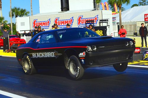 Geoff Turk and his Drag Pack were the only Mopar in the field, and he ran times of 8.26 and 8.20 before traction woes ended his weekend during eliminations. The Blackbird is a reference to the sonic-era military plane.