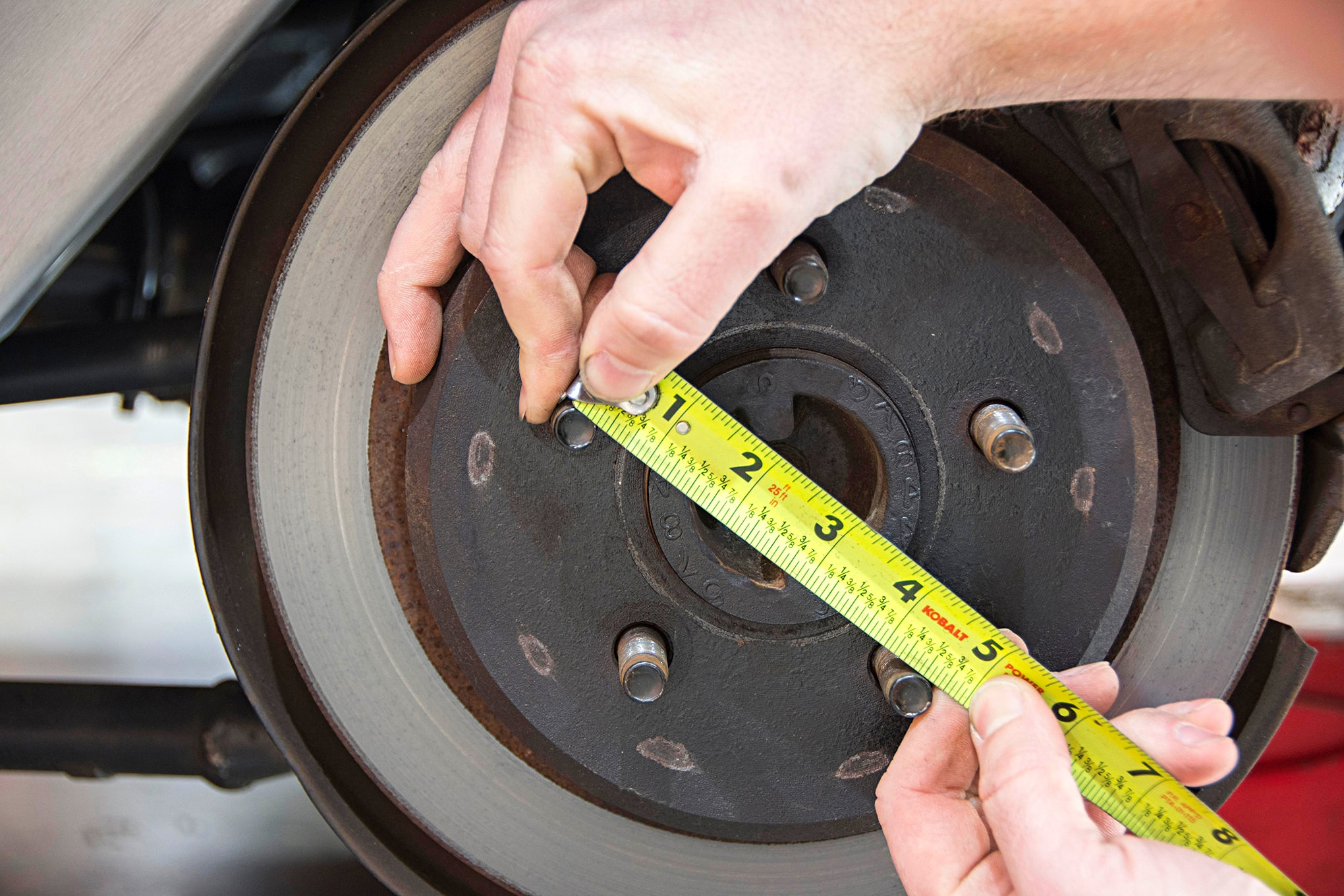 Another thing to consider is bolt pattern. If you've bought a street rod that is already finished, and you're looking to update the tire and wheel combo, you'll need to measure the front and rear. Sometimes, with the use of Mustang II front suspension and a GM rearend, the bolt patterns can be mismatched.