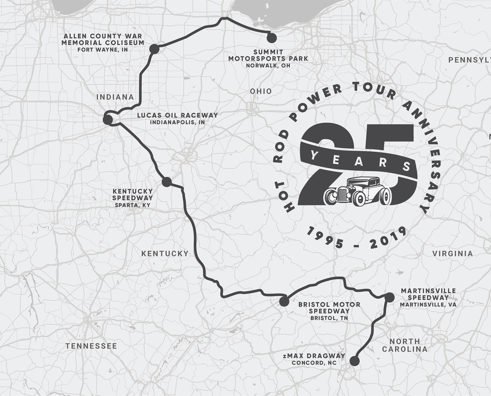 The Official Route Of Hot Rod Power Tour