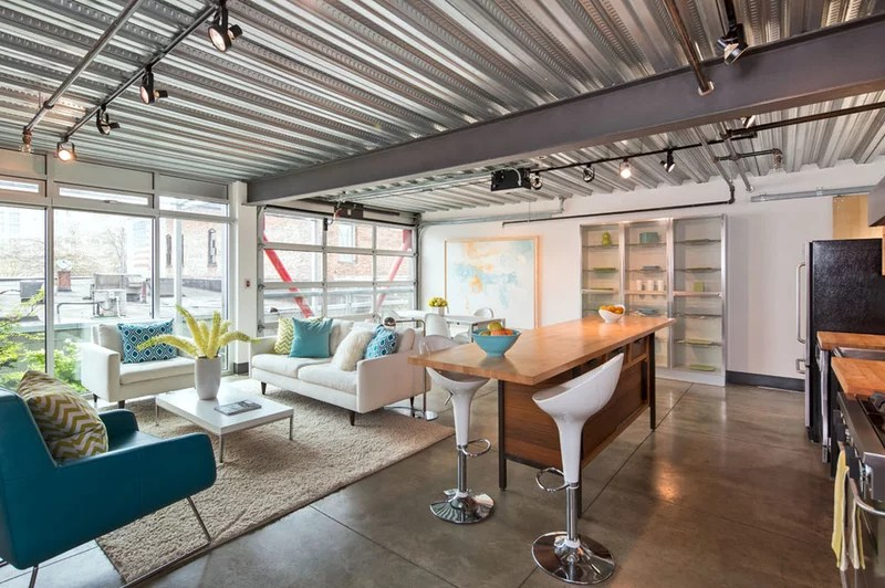 industrial living room by David Robertson Design, LLC