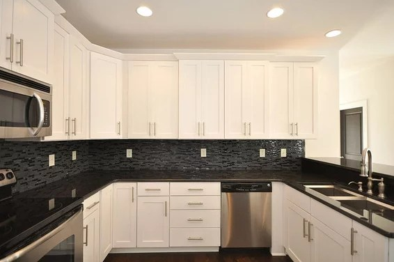 Black pearl granite countertops with glass mosaic ... on Black Granite Backsplash  id=30655