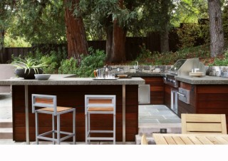 BBQ and Outdoor Kitchen contemporary landscape
