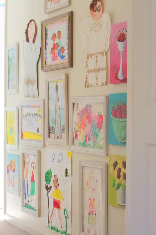 Elegant gallery wall kids art
