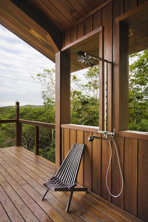 Belize Residence: Outdoor Shower tropical bathroom