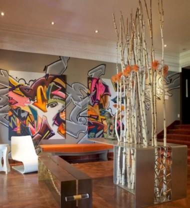 High-end Graffitid Media Room modern media room