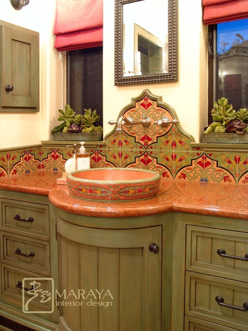Spanish Bathroom with Malibu Tile mediterranean bathroom