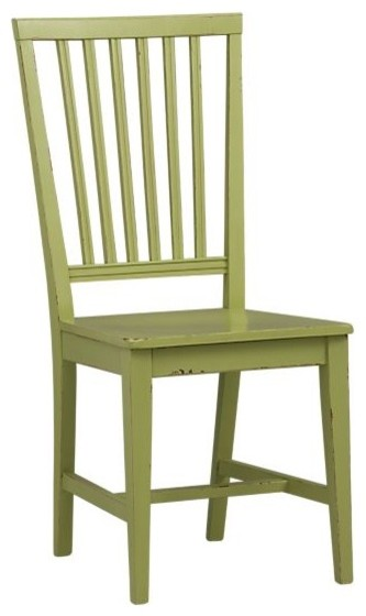 Village Foglie Green Side Chair and Stripe Cushion traditional dining chairs and benches