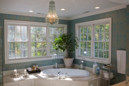 Turquoise and Crystal eclectic bathroom