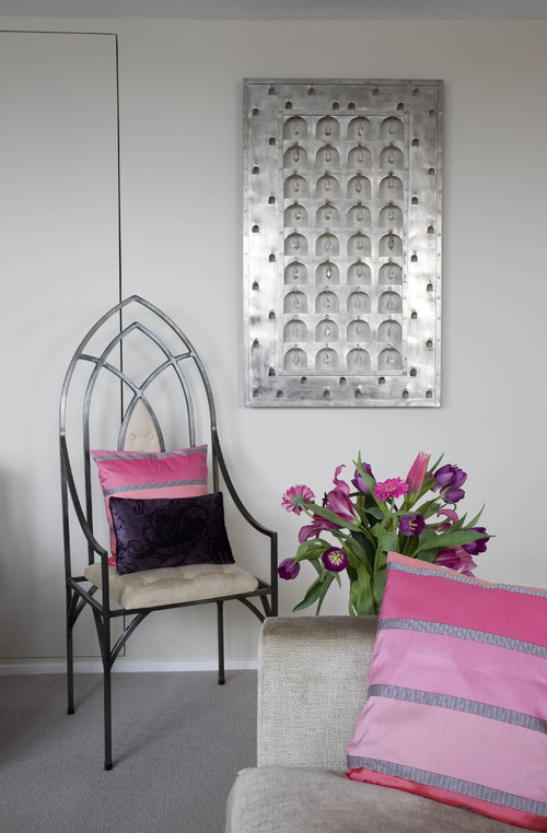 Metal and crystal wall hanging eclectic living room