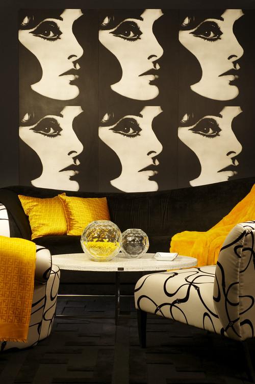 Signature Murdock Yellow eclectic living room
