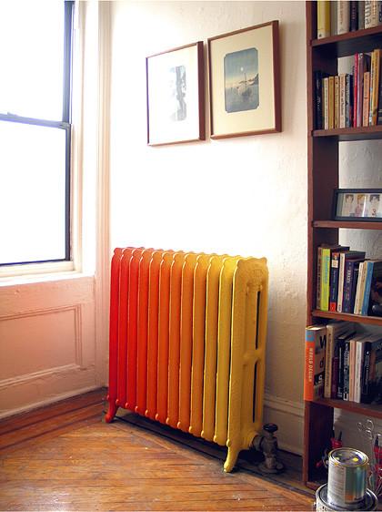 painted radiator - brooklyn, ny - wary meyers decorative arts eclectic bedroom