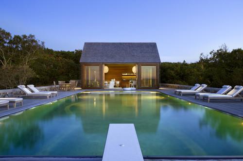 Louvered Poolhouse modern pool