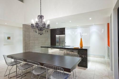 Orange, Black and White Kitchen modern kitchen