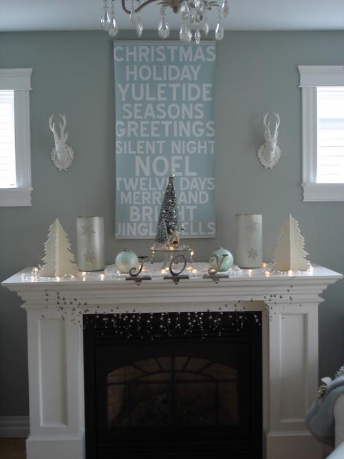 My holiday mantel contemporary living room