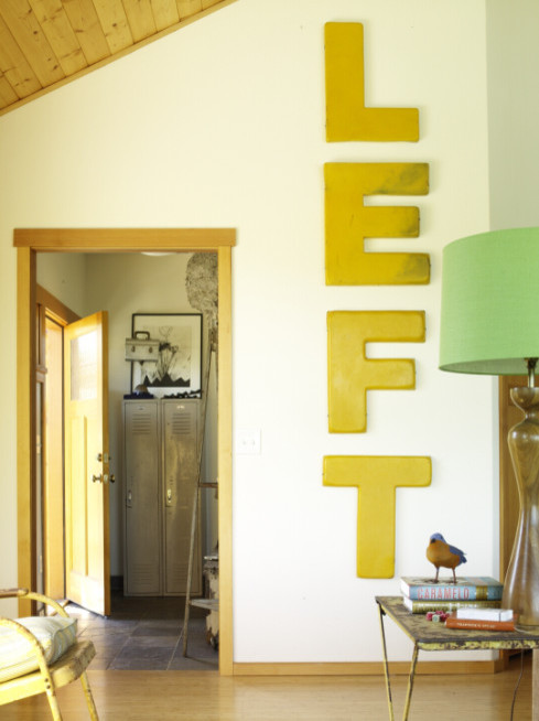 giant word makes good use of high ceilings eclectic