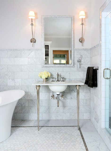 Parisian Inspired Master Bathroom Design Traditional