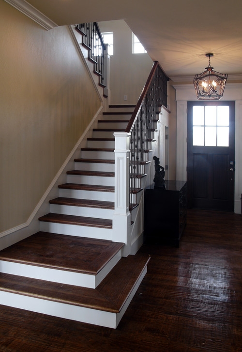 The New Craftsman Style Staircase   Mission Style Stair Railing   Modern   Metal Picket   Decorative Glass   Staircase   Bannister