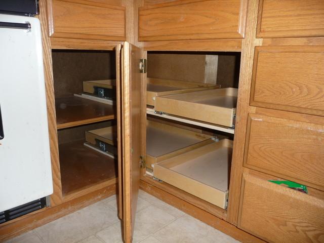 Blind Corner Solutions - Kitchen Drawer Organizers ... on Corner Sconce Shelf Cabinet id=93556