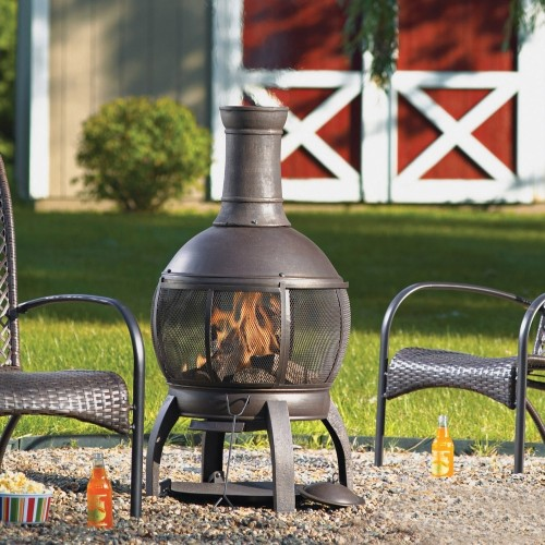 Living Accents Cast Iron Chimenea with Poker ... on Propane Fire Pit Ace Hardware id=53087