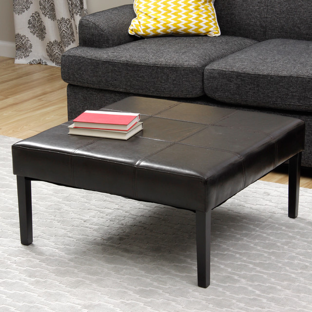 Square Faux Leather Coffee Table Ottoman Contemporary
