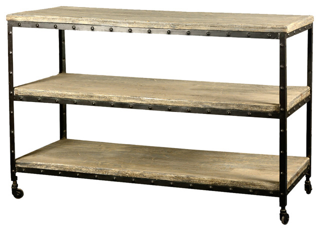 "Industrial Reclaimed Wood & Iron 50"" Long 3-Tier Rolling"