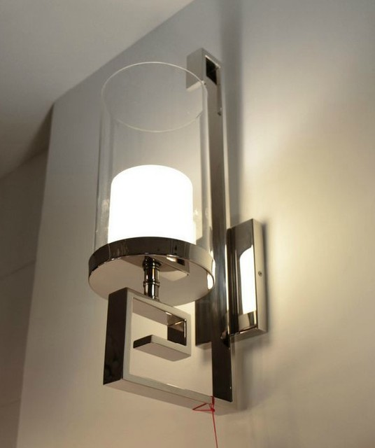 Modern Steel and Glass Wall Sconce in Polished Chrome ... on Decorative Wall Sconces Candle Holders Chrome id=78498