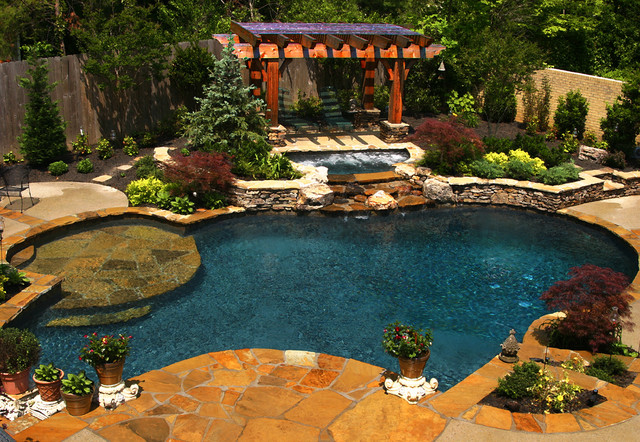 East Memphis Natural Pool, Spa, & Outdoor Living Design on Outdoor Living Spa  id=14679