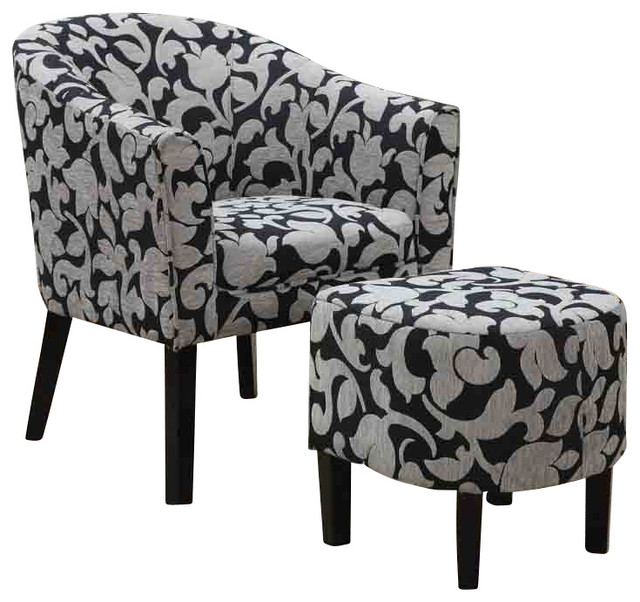 Gray Print Accent Chair