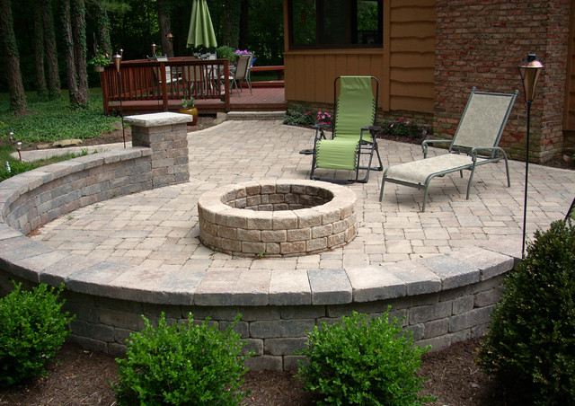 A Backyard Fire Pit - Traditional - Patio - cleveland - by ... on Backyard Patio Designs With Fire Pit  id=31547
