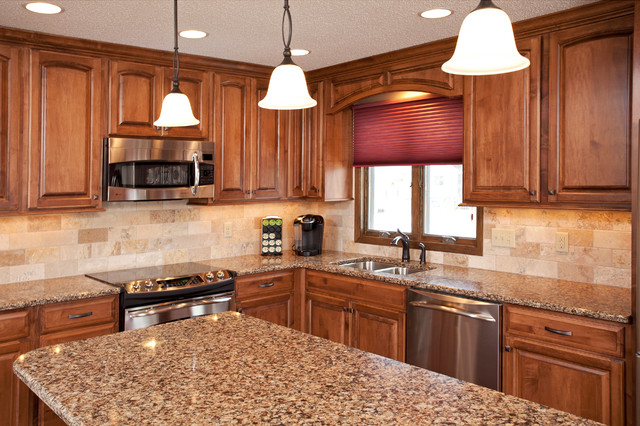 Maple cabinets with Cambria Countertops on What Color Backsplash With Maple Cabinets  id=16220