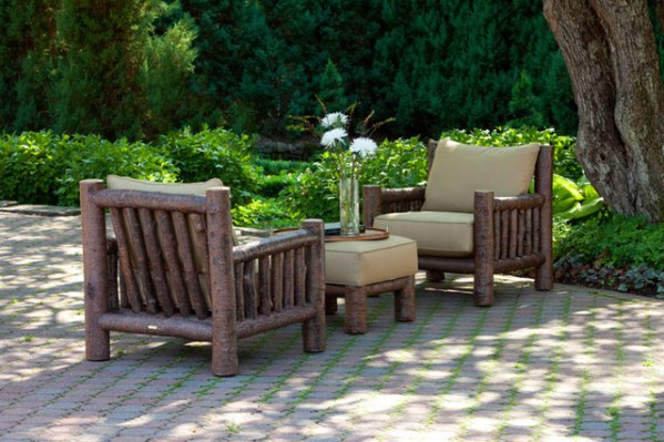 rustic outdoor patio furniture Rustic Club Chair #1276 and Rustic Ottoman #1277 by La
