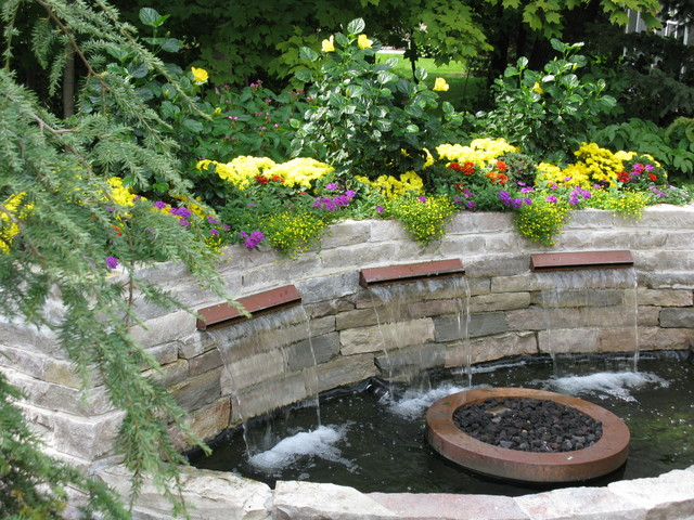 Backyard Patio with Water Feature - Traditional - Patio ... on Water Feature Ideas For Patio id=40031