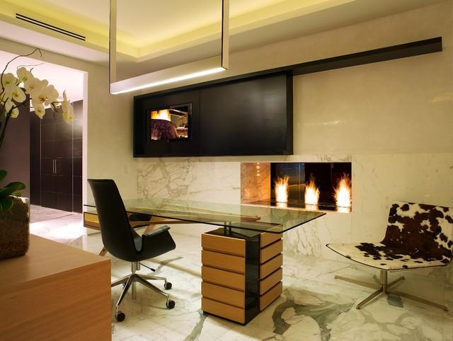 Modern Linear Fireplace Modern Home Office Miami
