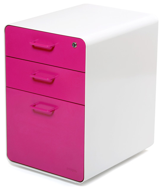 West 18th File Cabinet White Pink Contemporary Filing